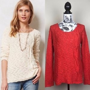 Anthropologie Yellow Bird Skewed Cable Sweater